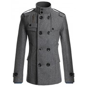 PAUL JONES Men's Classic Double Breasted Wool Blends Coat Jacket - Outerwear - $23.99