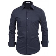 PAUL JONES Men's Regular Fit Classic Collar Business Dress Shirt - Рубашки - короткие - $9.99  ~ 8.58€