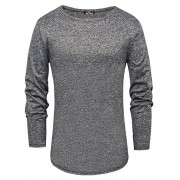 PAUL JONES Men's Slim Fit Long Sleeve Crew Neck Curved Hem T-Shirt Tops - Shirts - $9.99