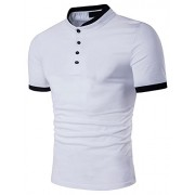 PAUL JONES Men's Slim Fit Short Sleeve Button Down Cotton Polo T-Shirts - Shirts - $7.99
