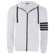 PAUL JONES Men's Stylish Slim Fit Long Sleeve Heavywhite Zip-up Hoodie - Outerwear - $9.99