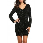PEATAO Glam Sequin 3/4 Sleeve Club Dress Vegas Sexy Plunging V Neck Dress Womens Sexy Black Sequin Dress Dresses - My look - $25.19