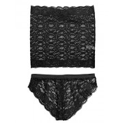 PEATAO Womens Sexy Mesh Lingerie Set, Off Shoulder Bodysuit Lace Tube Top and Panty Set - Underwear - $29.99