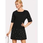 Pearl Beading Tunic Dress - Dresses - $16.00