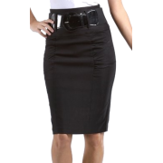 Petite High Waist Shirred Stretch Pencil Skirt with Wide Belt ( Choose Black or Brown ) Brown - Skirts - $22.99