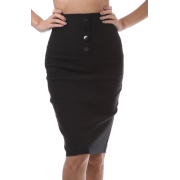 Petite High Waist Stretch Pencil Skirt with Four Button Detail ( Choose Brown or Black ) Black - Skirts - $19.99
