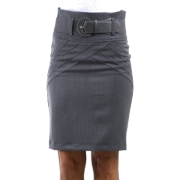 Petite High Waist Stretch Pencil Skirt with Wide Belt ( 5 Colors ) Charcoal - Skirts - $25.00