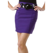 Petite Shirred Stretch Pencil Short Skirt with Wide Belt ( Choose Black, Purple or Red ) - Clearance Sale ! Black - Skirts - $14.99