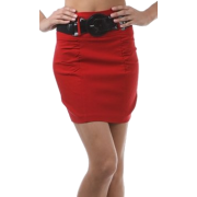 Petite Shirred Stretch Pencil Short Skirt with Wide Belt ( Choose Black, Purple or Red ) - Clearance Sale ! Red - Skirts - $14.99