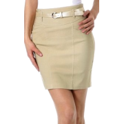 Petite Stretch Short Pencil Skirt with Skinny Belt ( 5 Colors ) Beige - Skirts - $25.00