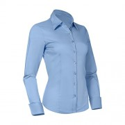Pier 17 Button Down Shirts for Women, Fitted Long Sleeve Tailored Shirt Blouse - Shirts - $12.95