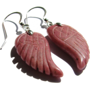 Pink Rhodonite Gem Carved Leaf Earrings - Brincos - $25.00  ~ 21.47€