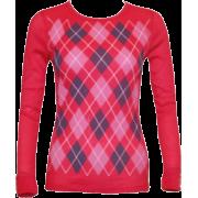 Pink base, White & Dark Gray Argyle Pattern Top - Long sleeves t-shirts - $14.50