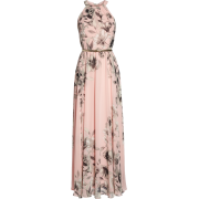 Pink Chiffon Maxi Dress - Dresses -