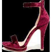 Pink Velvet Sandals - Sandals -