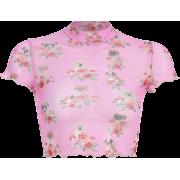 Pink printed mesh thin t-shirt - T-shirts - $15.99