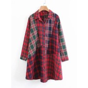 Plaid Spliced Shirt Dress - sukienki - $24.00  ~ 20.61€
