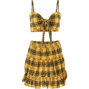Plaid Vest Pleated Skirt Set - Vestiti - $25.99  ~ 22.32€