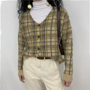 Plaid V-neck long-sleeved loose vintage - Cardigan - $35.99