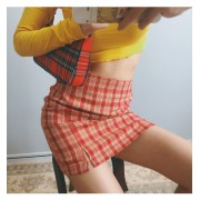 Plaid split hip skirt - Skirts - $27.99