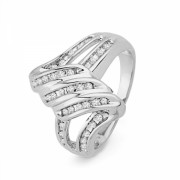 Platinum Plated Sterling Silver Round Diamond Twisted Fashion Ring (1/4 cttw) - Anelli - $89.00  ~ 76.44€