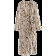 Pleated serpentine chiffon dress long ca - Dresses - $27.99