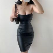 Pleated split leather thin shoulder stra - Vestidos - $25.99  ~ 22.32€