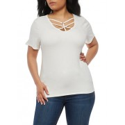 Plus Size Caged Neck Top - Top - $7.99