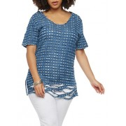 Plus Size Destroyed Chambray Top - Top - $19.97