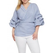 Plus Size Striped Wrap Top - Top - $16.99