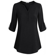 Poetsky Womens Roll Up Long Sleeve Button Up Notch Collar V Neck Chiffon Casual Blouse Tops Shirts With Pocket - Shirts - $12.89