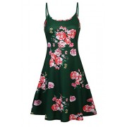 Poetsky Womens Sleeveless Adjustable Spaghetti Strap Backless A-Line Floral Midi Dress (Green, XL) - Dresses - $14.99