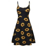 Poetsky Womens Sleeveless Adjustable Spaghetti Strap Backless A-Line Floral Midi Dress - Dresses - $6.99