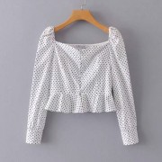 Polka Dot Collar Slim Top - Shirts - $25.99