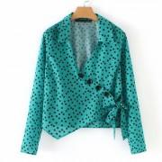 Polka Dot Printed Green Irregular Button - Shirts - $25.99