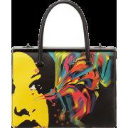 Prada-Saffiano-Girl-Print-Bag-Black - Hand bag -