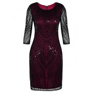 PrettyGuide Women 1920s Flapper Dress Beaded Deco Long Sleeve Cocktail Gatsby Dress - Vestidos - $25.99  ~ 22.32€
