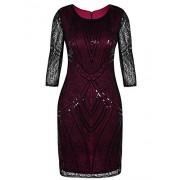 PrettyGuide Women 1920s Flapper Dress Beaded Deco Long Sleeve Cocktail Gatsby Dress - Dresses - $26.99