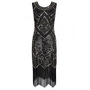 PrettyGuide Women 1920s Gatsby Sequin Beaded Fringed Flapper Cocktail Dress - Dresses - $25.99