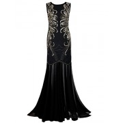 PrettyGuide Women 1920s Gown Sequin Long Flapper Evening Formal Dress - Dresses - $38.99