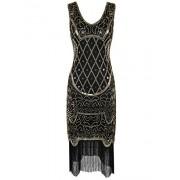 PrettyGuide Women 20s Gatsby Cocktail Baroque Sequin Fringed Flapper Dress - Dresses - $22.99