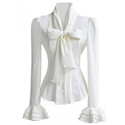 PrettyGuide Women 50's Retro Silky Bow Tie Shirts Ruffle Victoria Blouse Tops - Shirts - $17.99