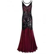 PrettyGuide Women Formal Dress 1920s Flapper Sequin Art Deco Long Cocktail Evening Dress - Dresses - $29.99