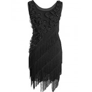PrettyGuide Women's 1920s Beaded Fringe Scalloped Petal Plus Size Flapper Dress - Dresses - $20.99