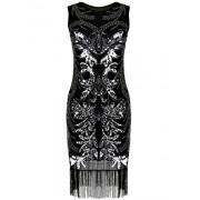 PrettyGuide Women's 1920s Gatsby Art Deco Sequin Beads Black Flapper Dress - Dresses - $24.99