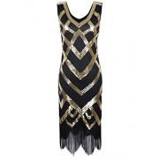 PrettyGuide Women's 1920's Gatsby Dress Sequin Crisscross Fringe Hem Flapper Dress - Dresses - $29.99