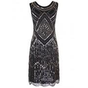 PrettyGuide Women's 1920s Gatsby Vintage Sequin Scalloped Hem Cocktail Flapper Dress - Dresses - $34.99