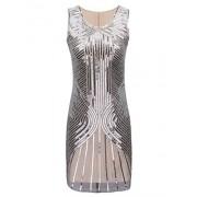 PrettyGuide Women's 1920s Great Gatsby Beaded Sequin Embellished Flapper Dress - Dresses - $38.99