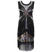 PrettyGuide Women's 1920s Vintage Beads Sequin Fireworks Fringed Flapper Gatsby Dress - Dresses - $20.99