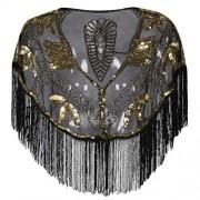 PrettyGuide Women's Evening Shawl Sequin Fringed Bolero Flapper 1920s Cape - Accessories - $29.99